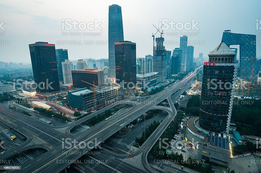 Hazy urban skyline of Beijing, China stock photo