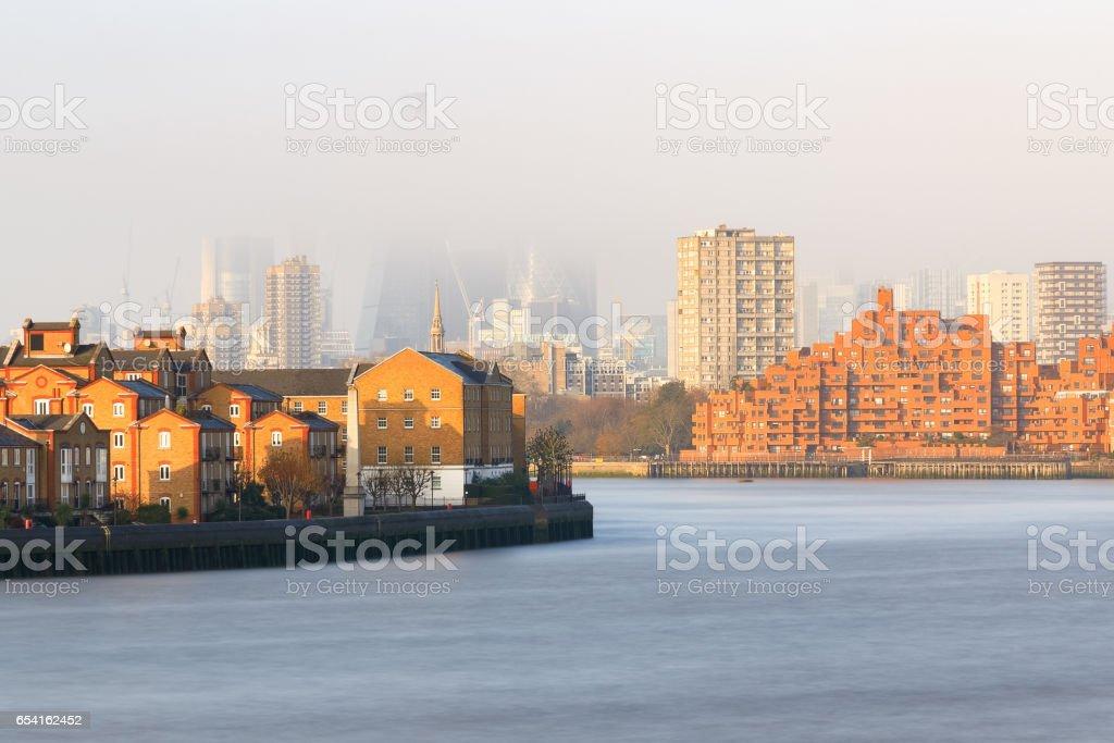 Hazy view of City of London stock photo