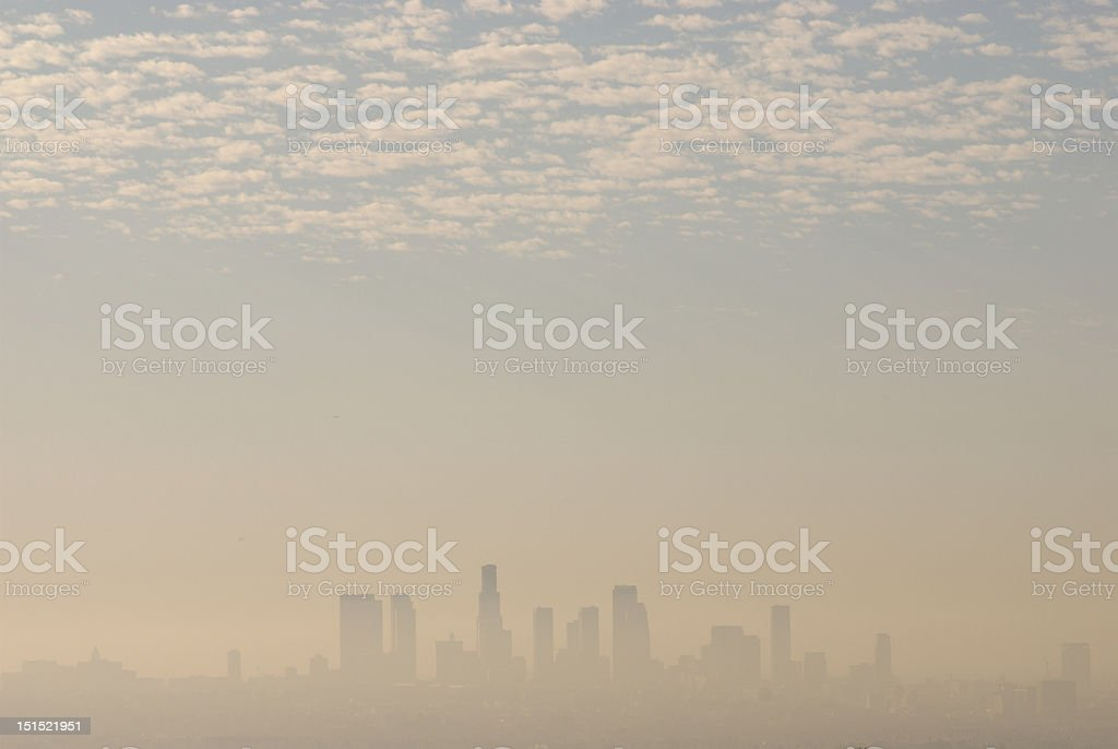 Hazy view of downtown Los Angeles skyline stock photo