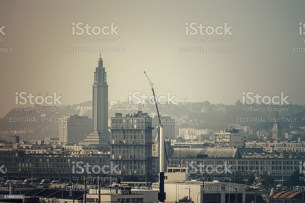 Hazy View of the concrete-City-architecture of Le Havre stock photo