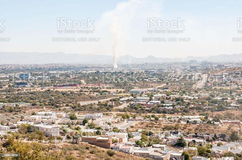 Hazy view of Windhoek from the south stock photo
