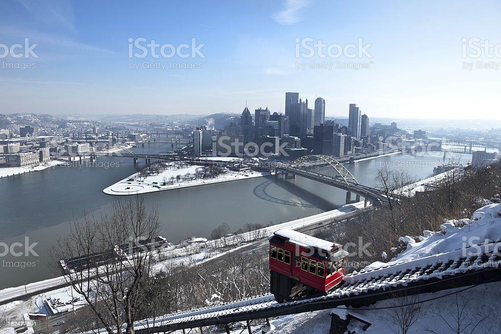 Hazy Winter Morning In Pittsburgh, Pennsylvania stock photo