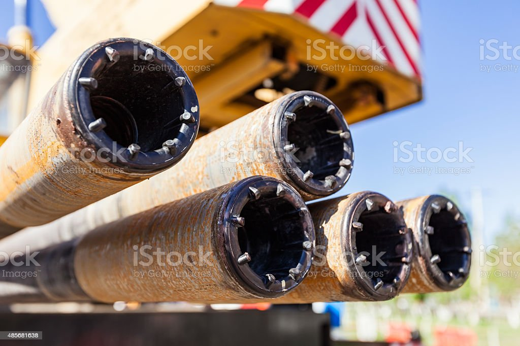 Hdd-Horizontal Directional Drilling Operation - Drill Rod stock photo