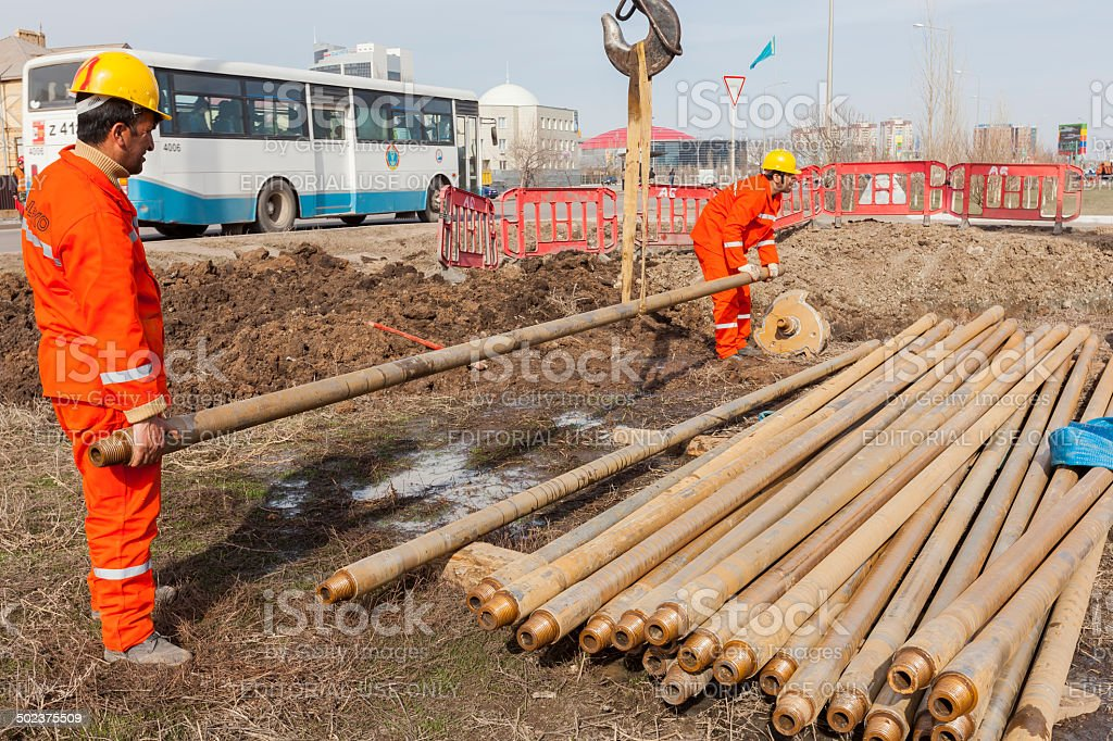 HDD-Horizontal Directional Drilling Operation stock photo