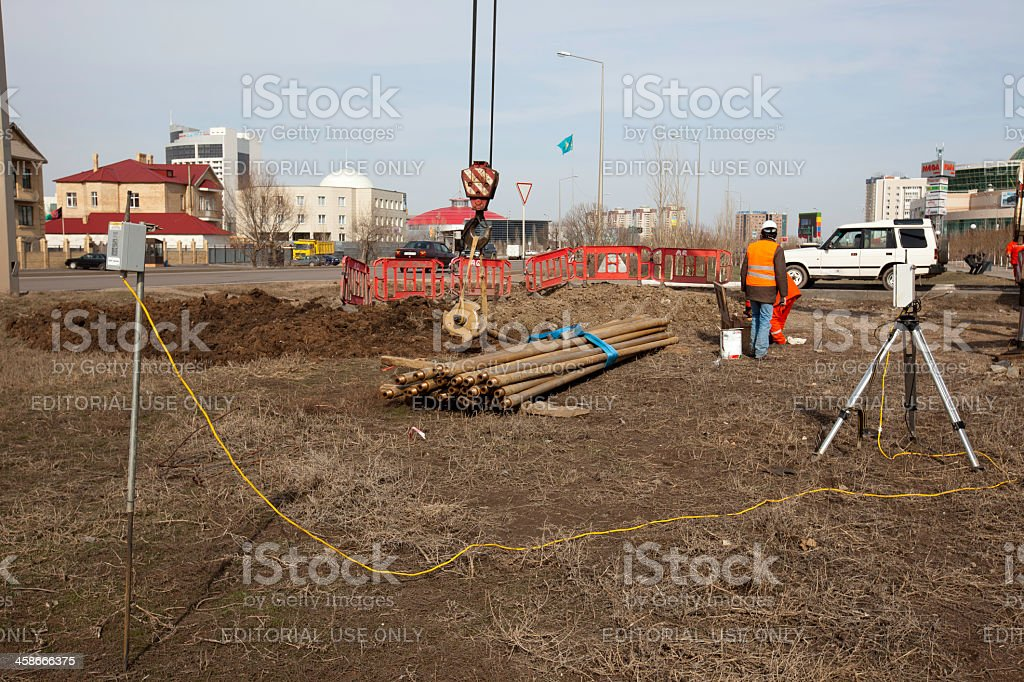 HDD-Horizontal Directional Drilling Operation-working area royalty-free stock photo