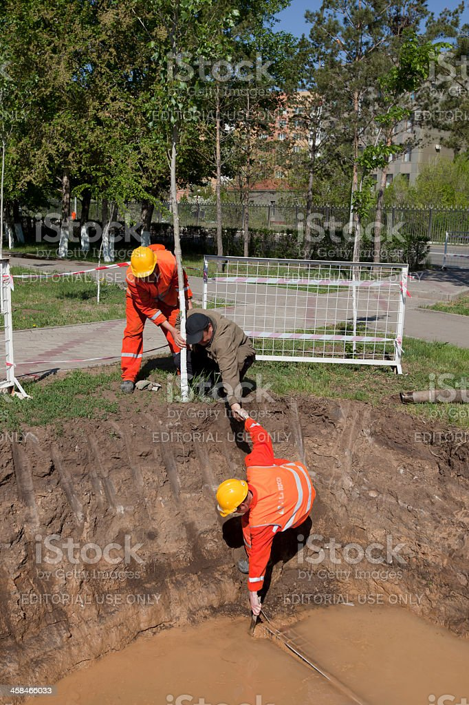 HDD-Horizontal Directional Drilling-pulling guard fence stock photo