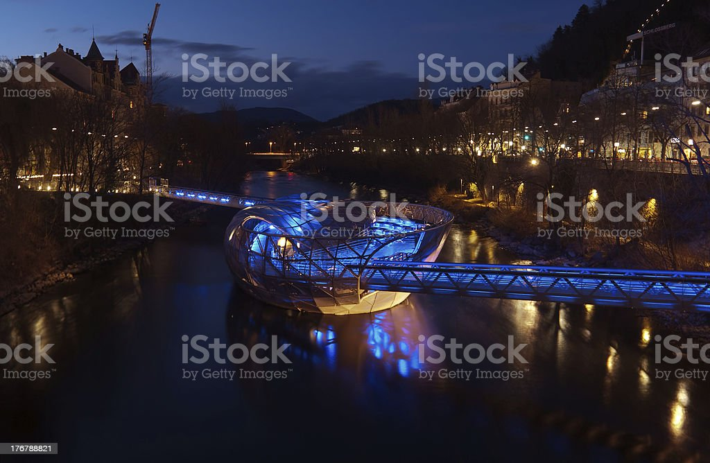 HDR-nightview of the Mur-island in Graz stock photo