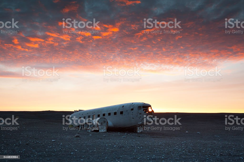 he abandoned DC-3 Airplane in Iceland stock photo