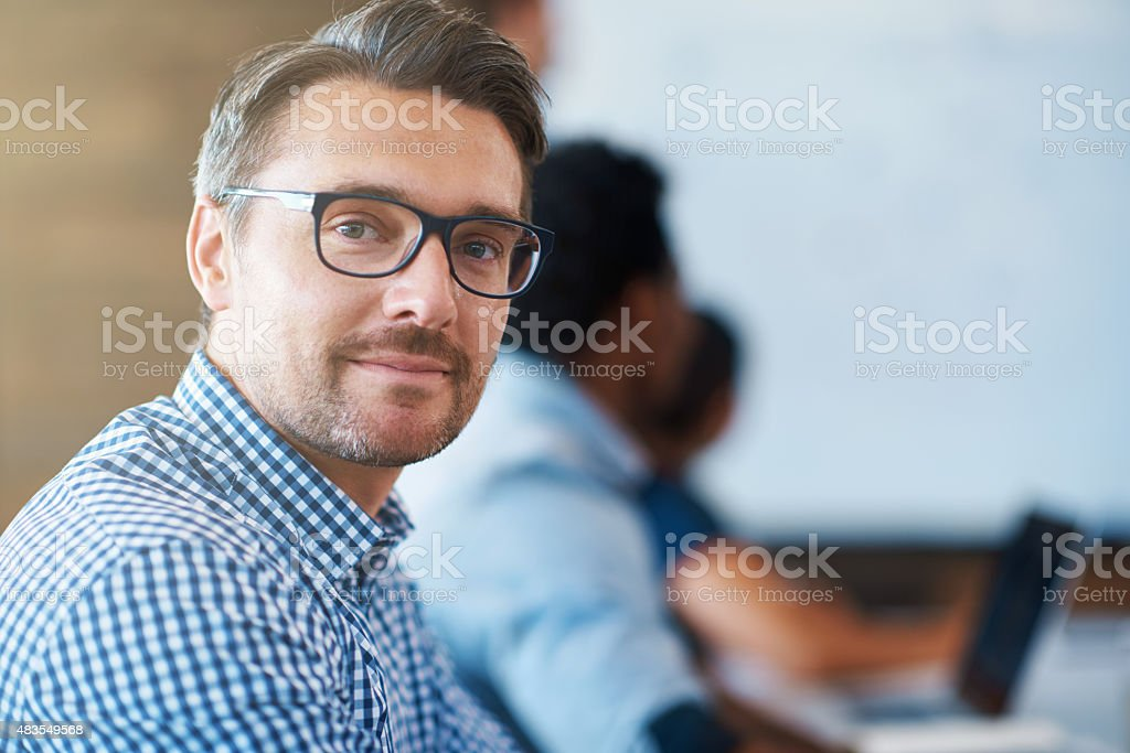 He always brings his A-game to work stock photo