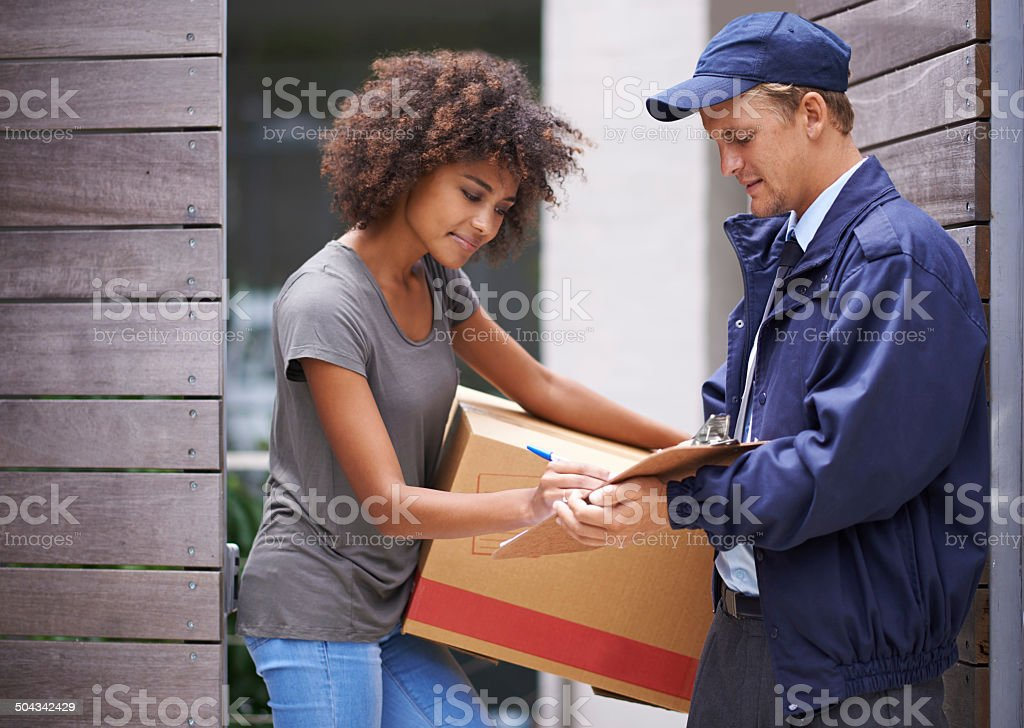 He always enjoyed delivering to her address stock photo