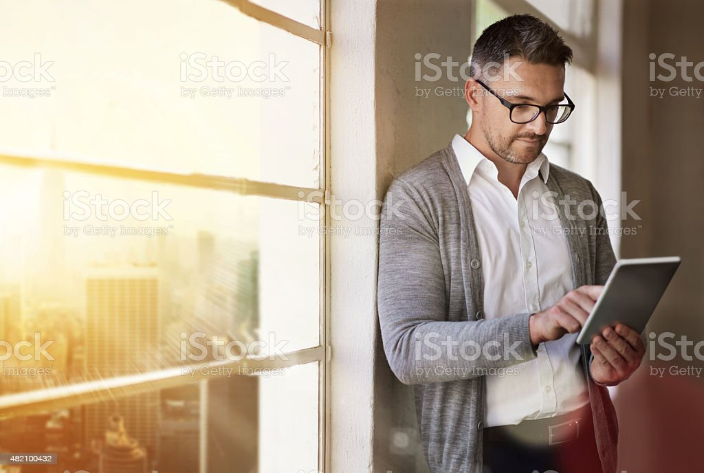 He always has access to his data stock photo