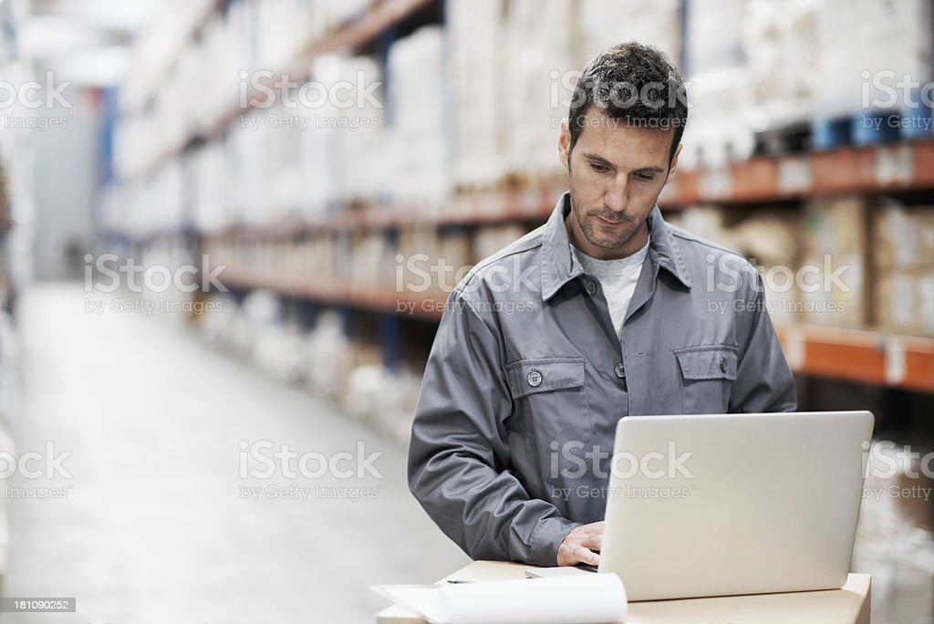 He always keeps an electronic record royalty-free stock photo