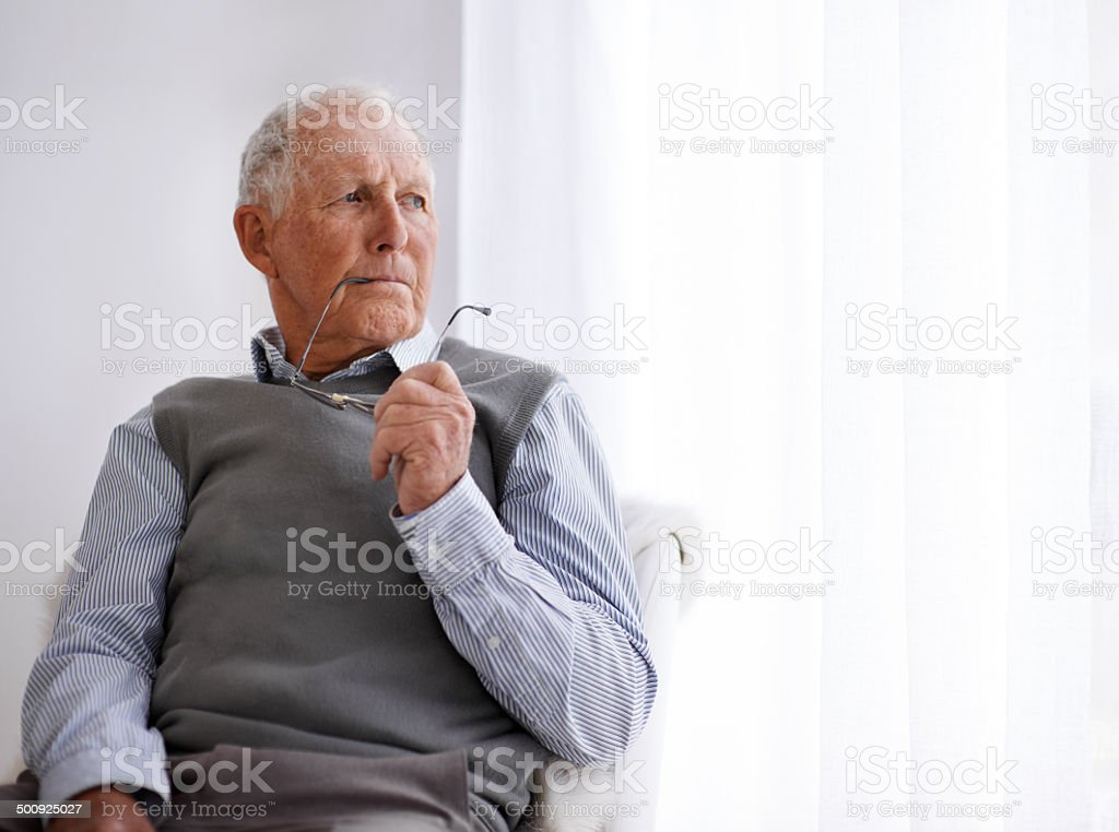 He always takes time to reflect on important matters stock photo
