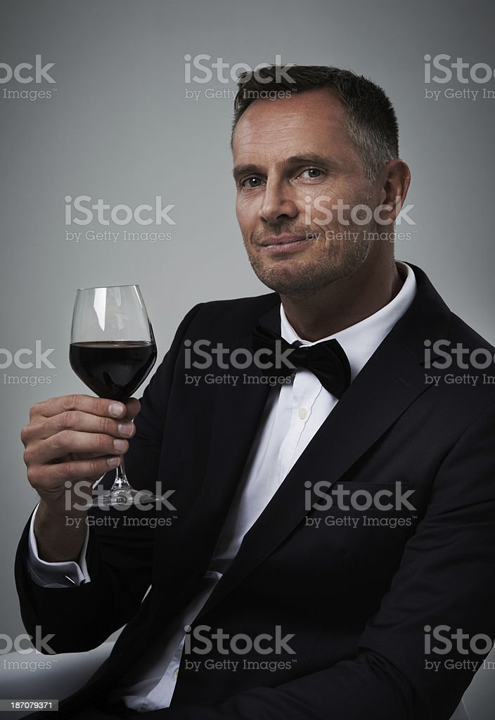 He appreciates a good wine royalty-free stock photo