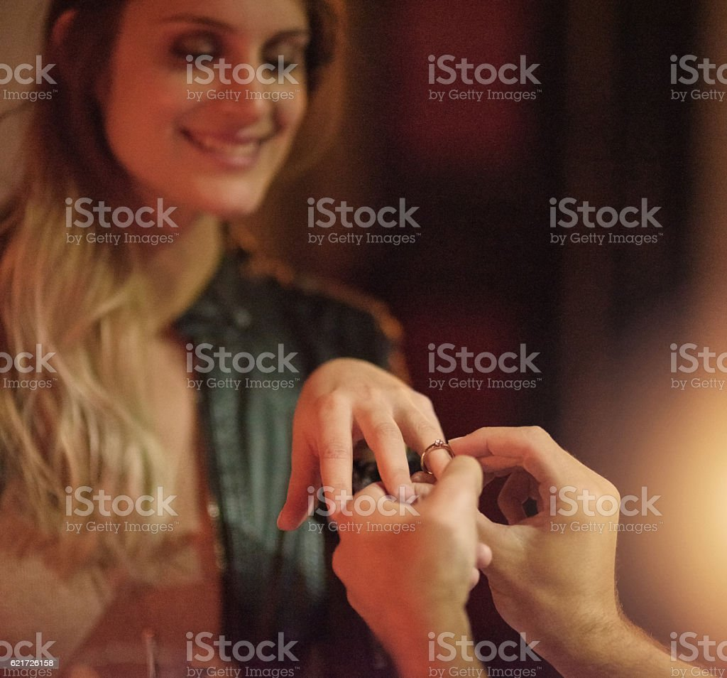 He asked, she said yes stock photo