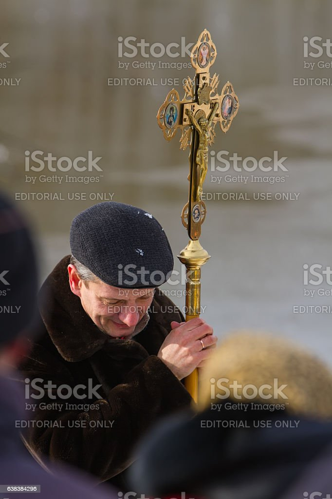 He bowed his head in prayer. stock photo