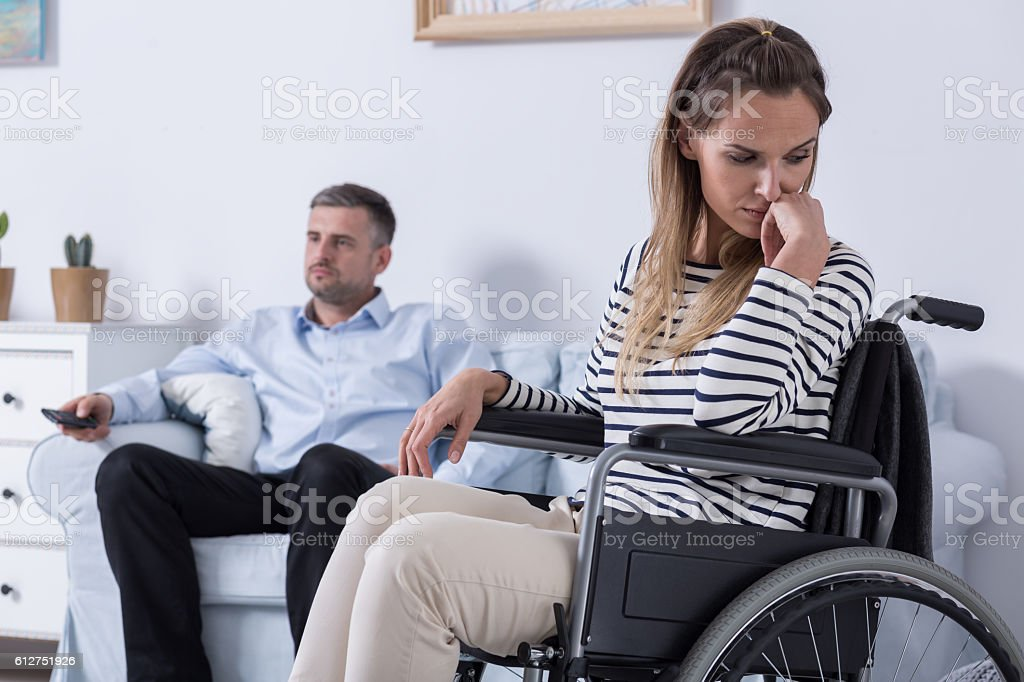 He can't accept my disability stock photo