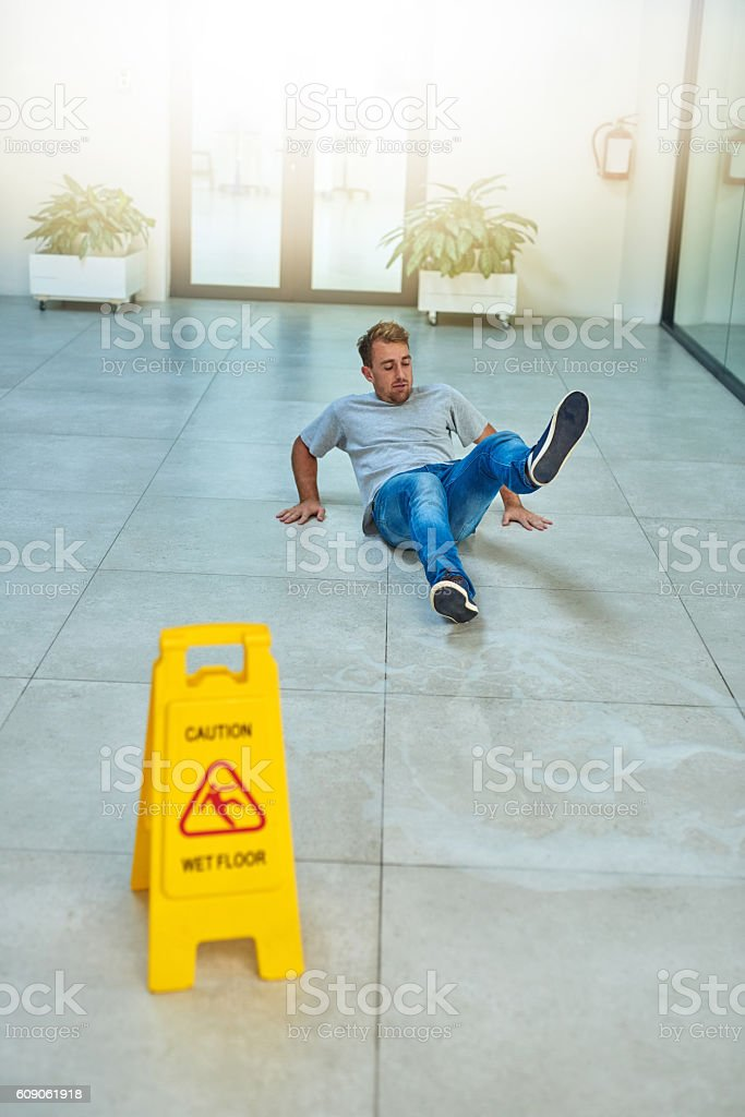 He didn't read the sign stock photo