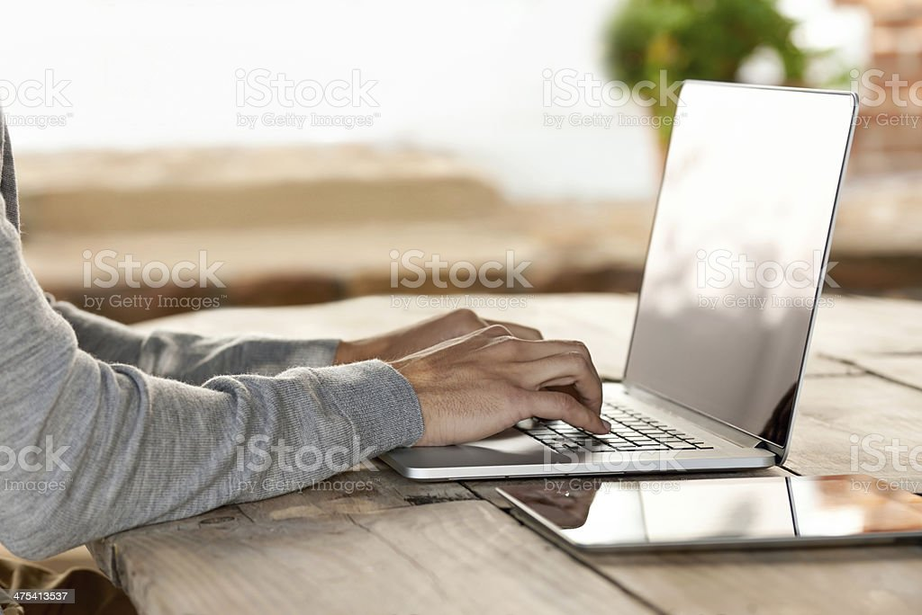 He doesn't have to go far for instant access... stock photo