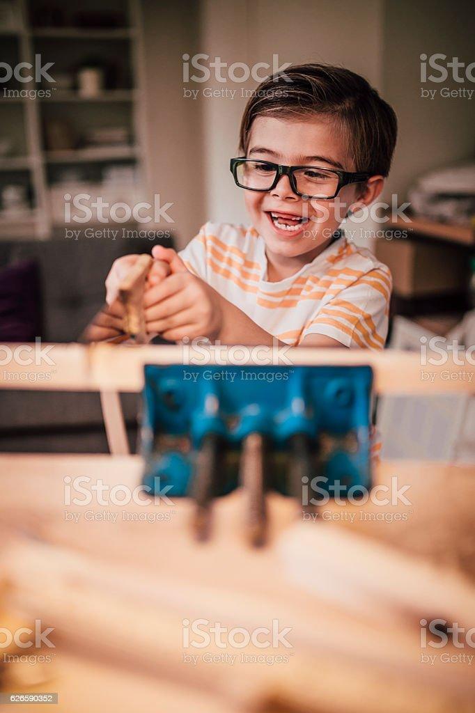 He Enjoys Woodwork stock photo