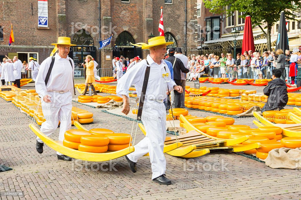he famous Alkmaar Cheese Market in Netherlands stock photo
