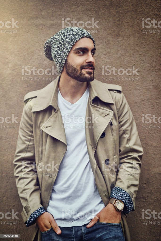 He gets his style inspiration from the streets stock photo