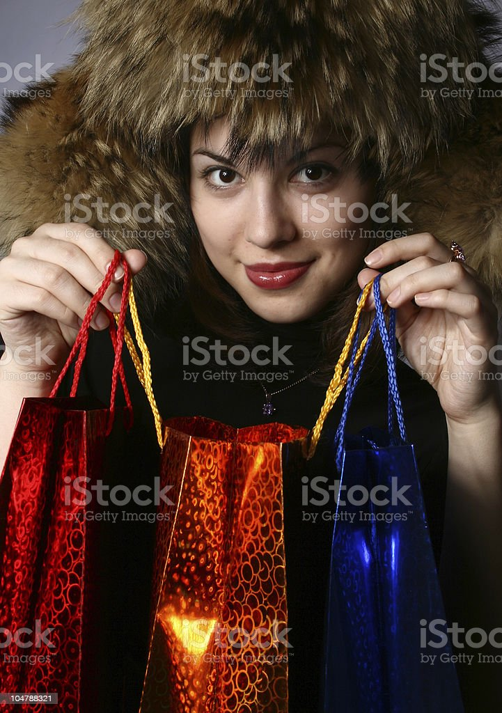 he girl with purchases. royalty-free stock photo