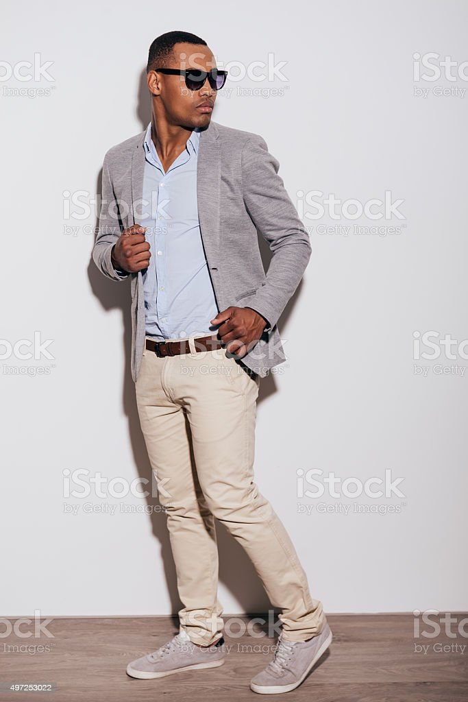 He got trendy look. stock photo