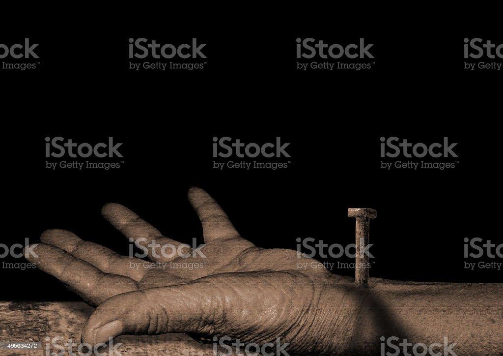 he hand of Jesus stock photo