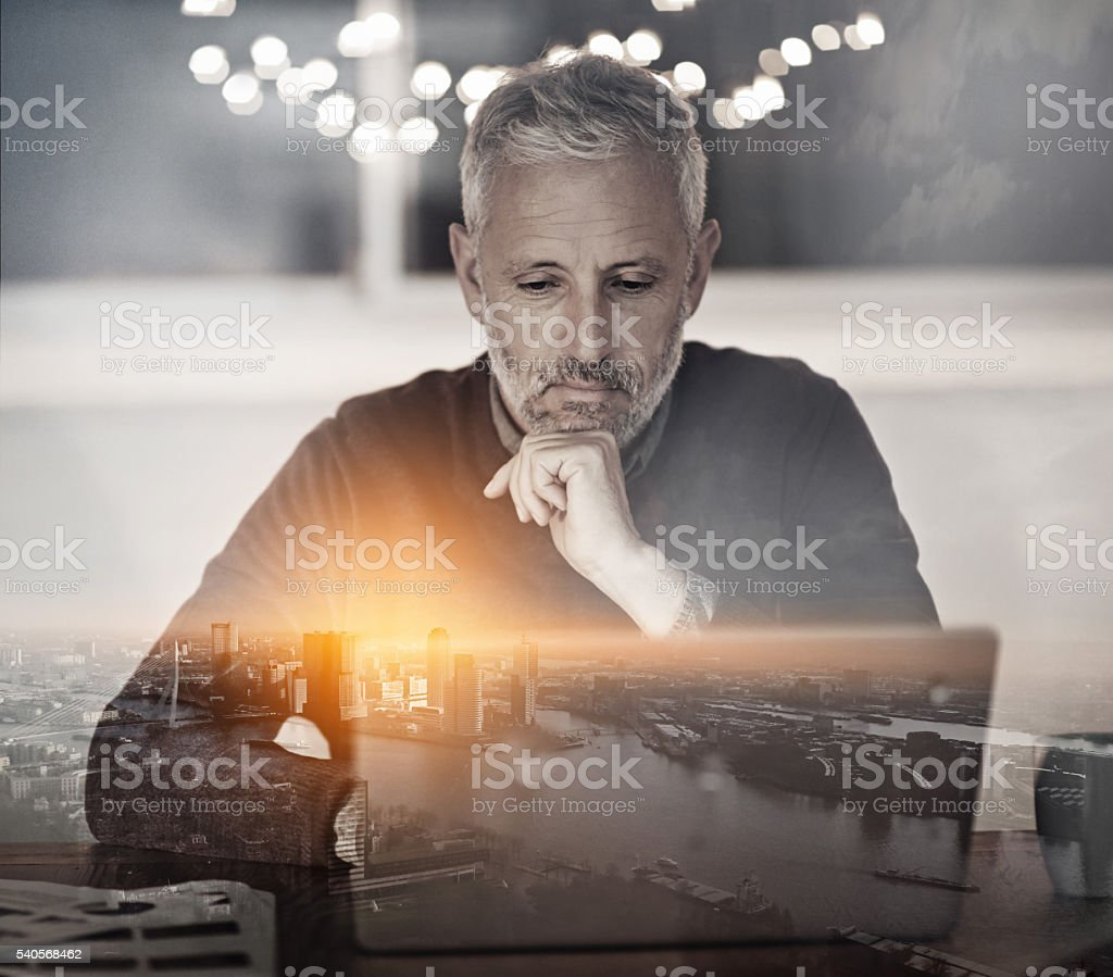He has a vision for the city stock photo