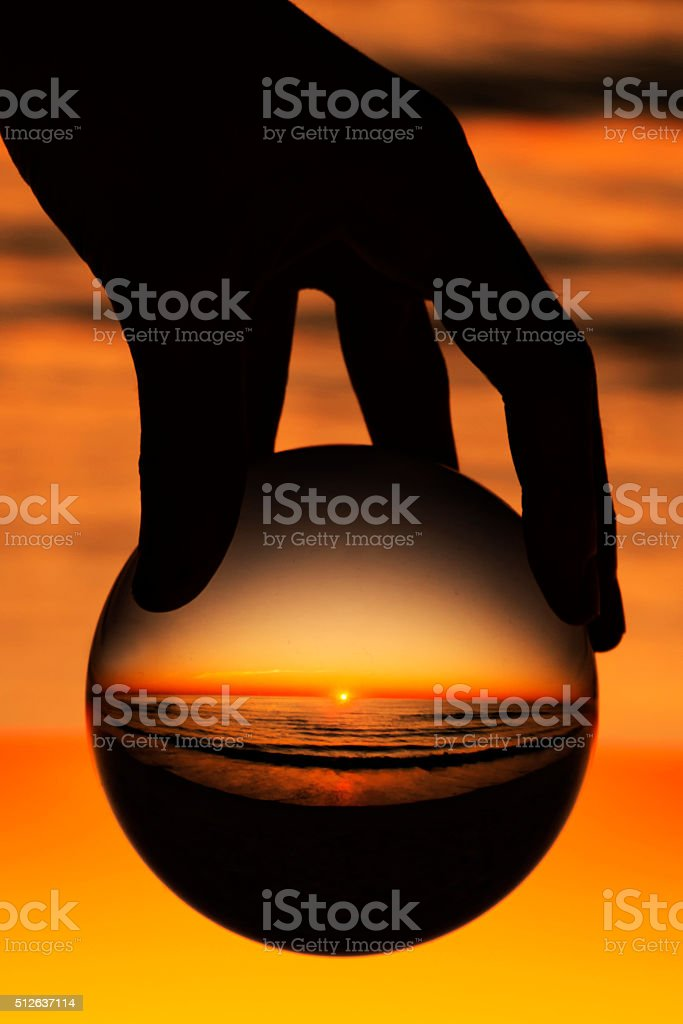 He has the Whole World in his Hands! stock photo