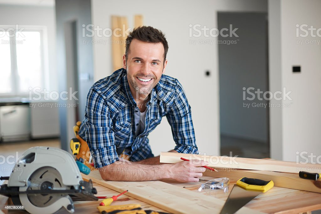 He is the best carpenter in town stock photo