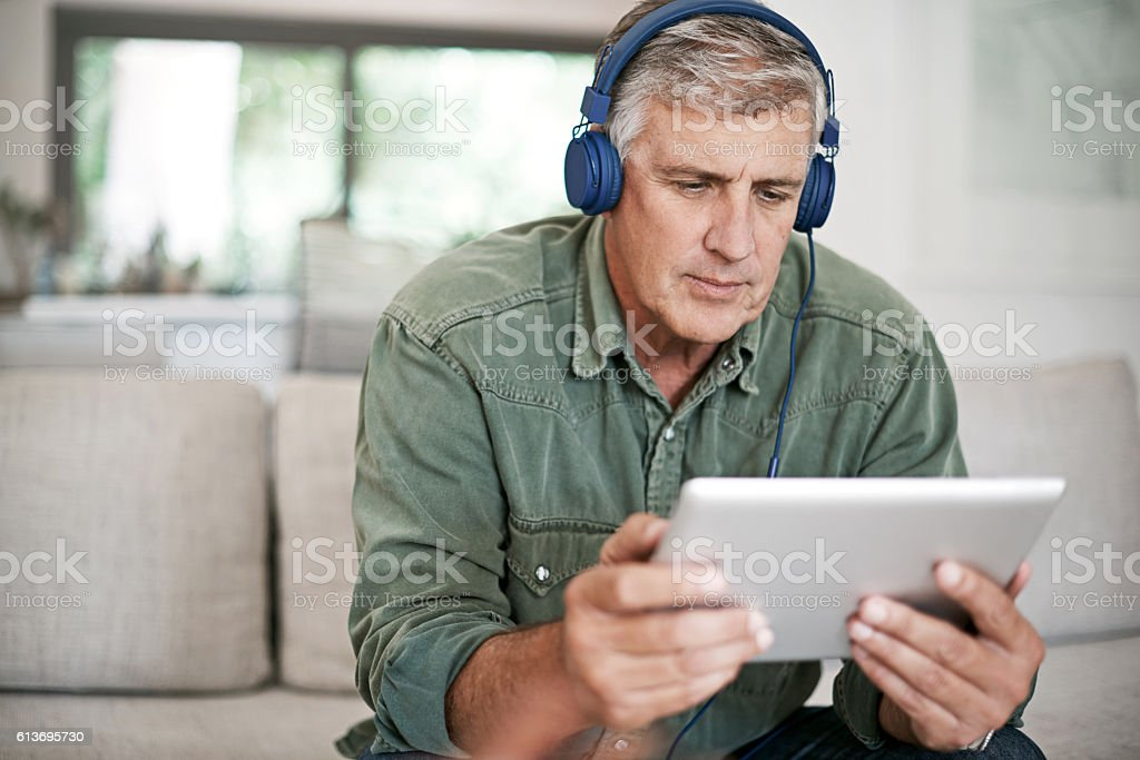 He knows all about streaming movies online stock photo