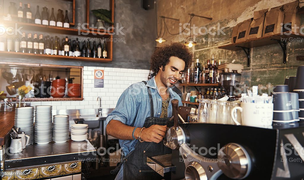 He knows his coffee stock photo