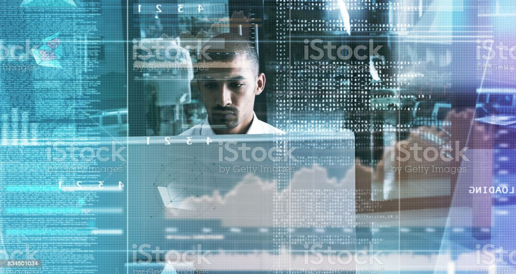 He knows his way around any computer network stock photo