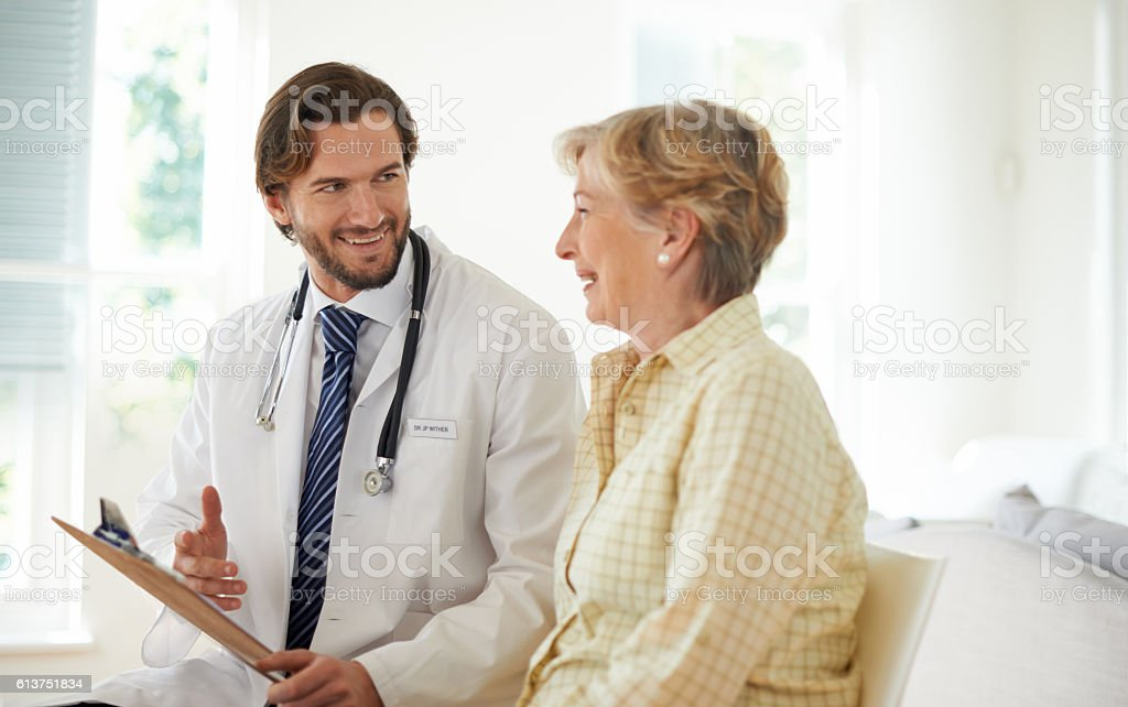 He knows how to put his patients at ease stock photo