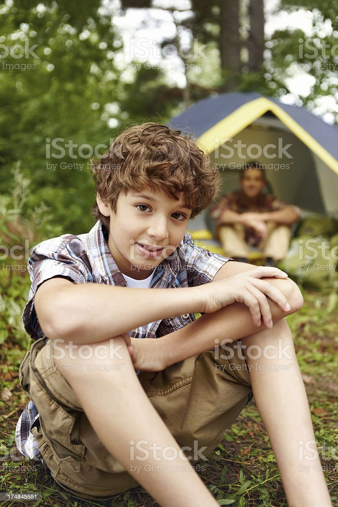 He loves going camping royalty-free stock photo