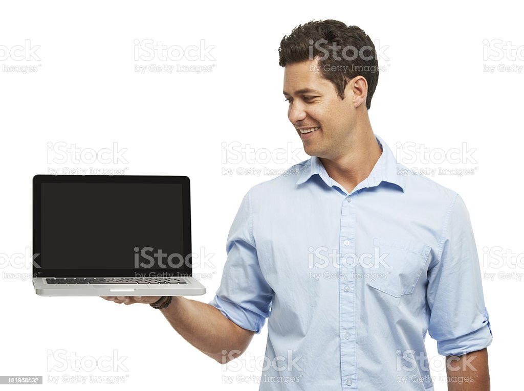 He loves his new laptop royalty-free stock photo