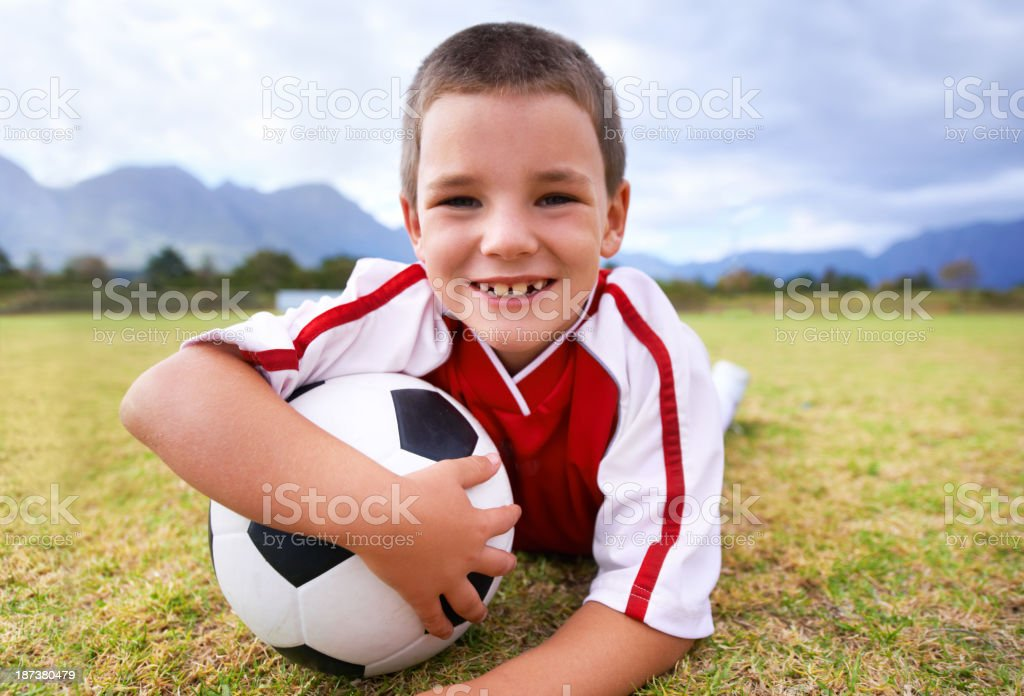 He loves soccer royalty-free stock photo