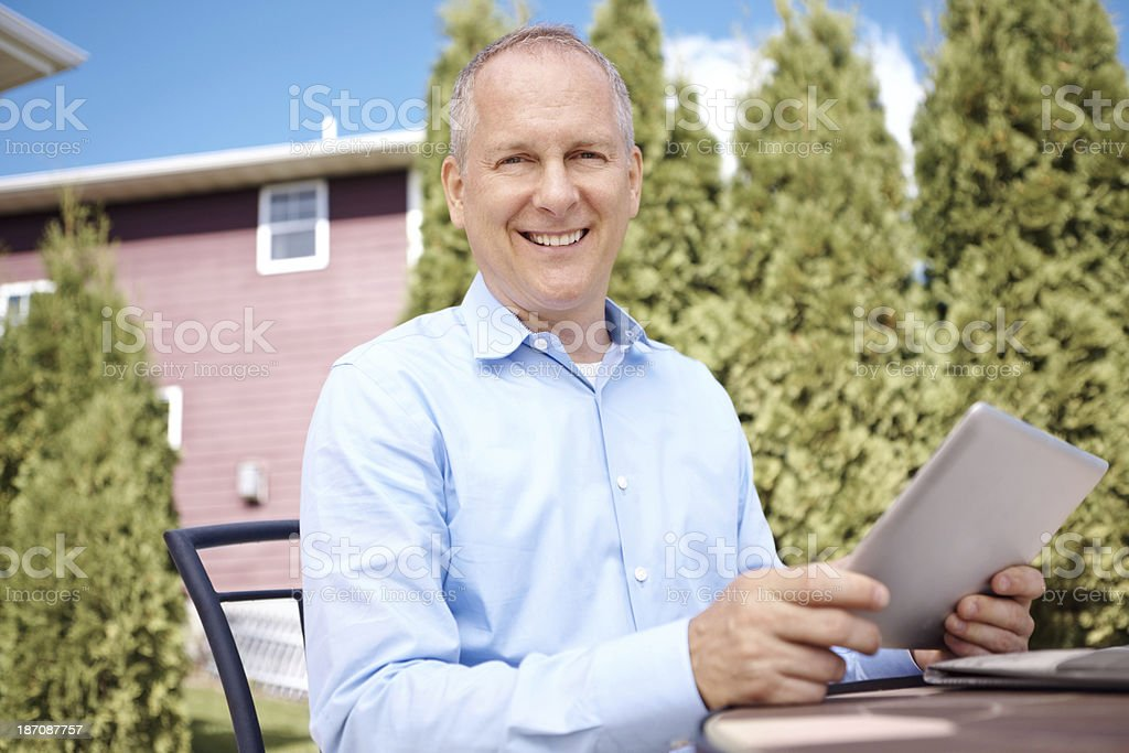 He loves the convenience of wireless royalty-free stock photo