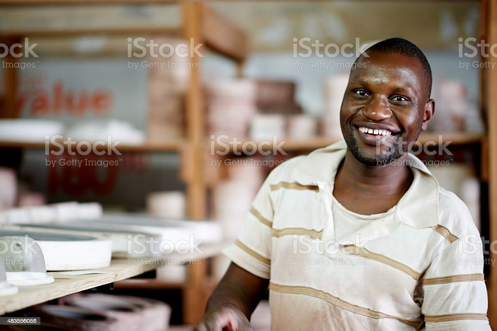He loves what he does and it shows stock photo