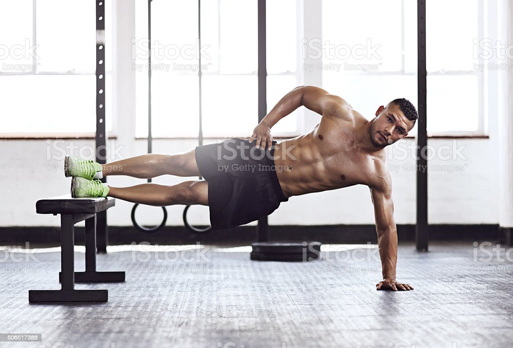 He makes exercise look easy stock photo