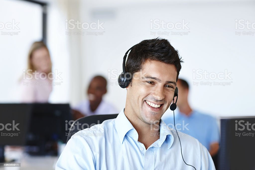 He makes the callers' needs top priority stock photo