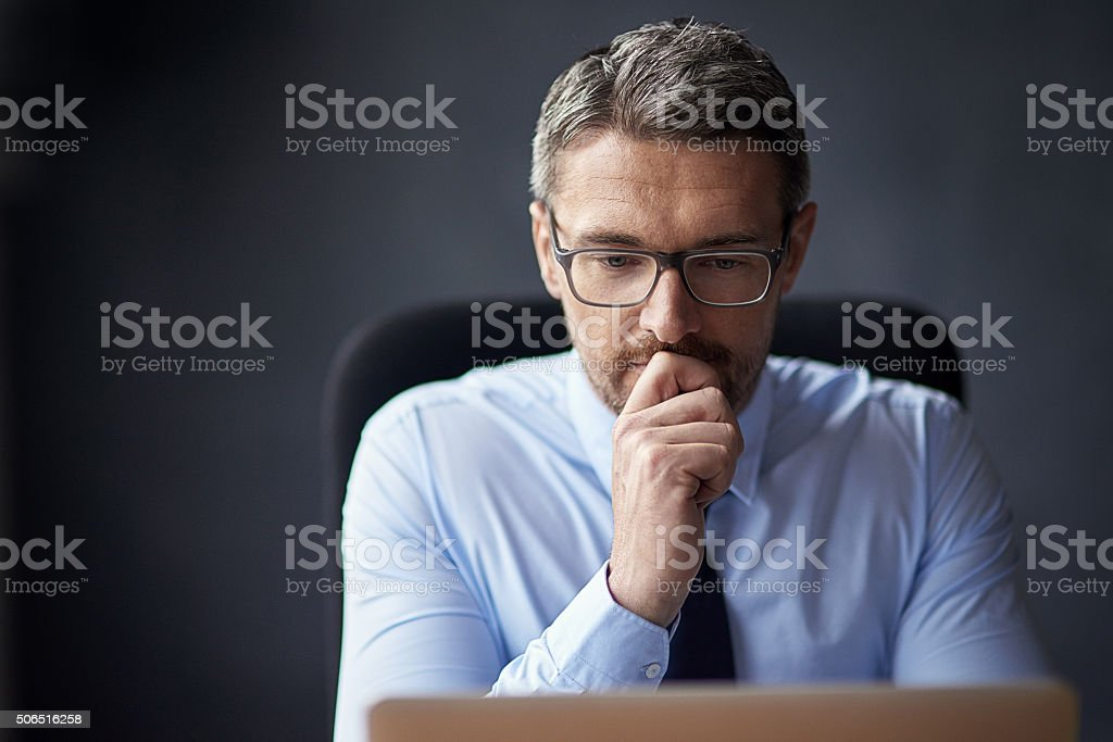 He never acts without thought stock photo