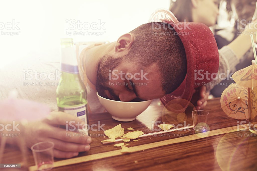 He partied too hard stock photo