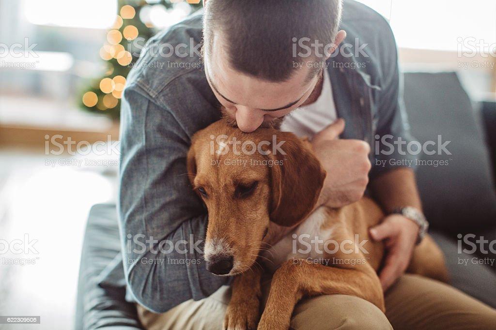 He really is man's best friend stock photo