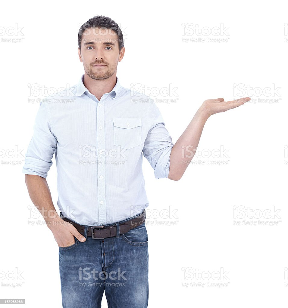 He supports your product stock photo