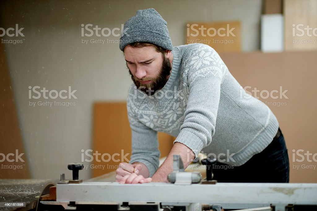 He takes pride in his work stock photo