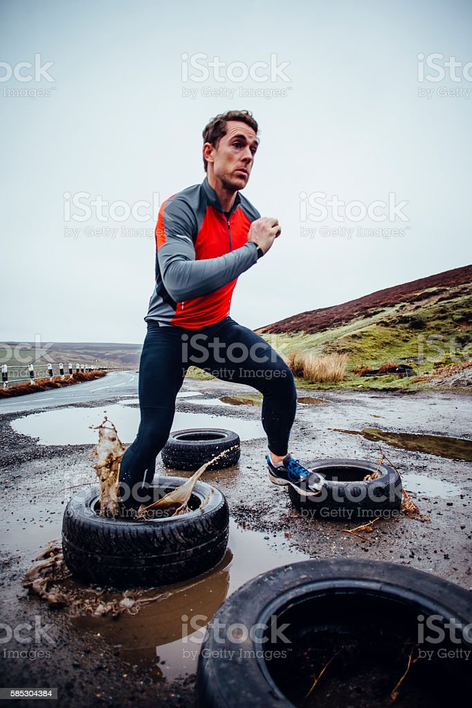 He trains in all weather stock photo