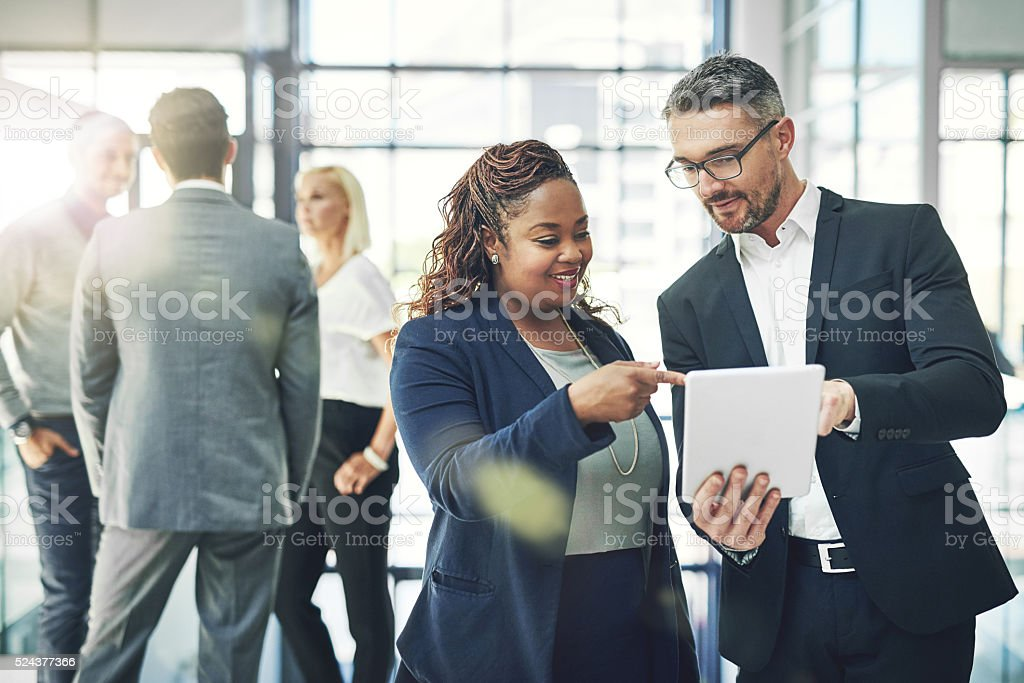 He trusts her business instincts stock photo